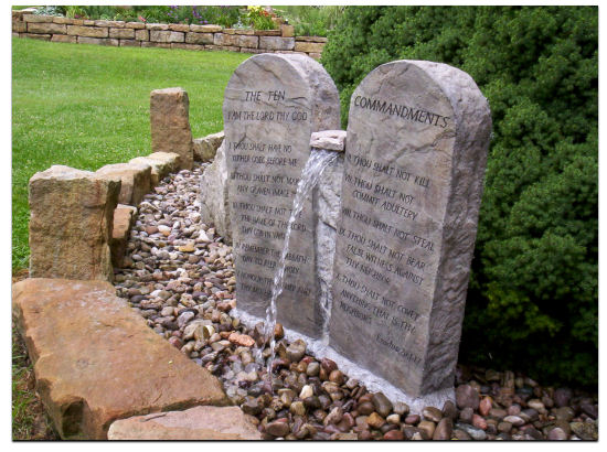 Ten commandments in stone water fall- Dallas TX   www.grasshopperslandscapingllc.com